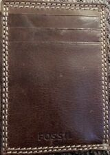 Fossil Brown Leather Magnetic Money Clip ID Window Credit Card Holder Wallet