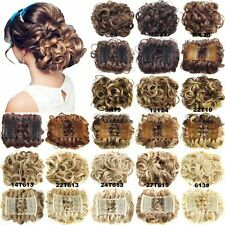 Short bun curly hair extensions ebay ladies wave curly combs clip in hair bun chignon piece updo cover extensions pmusecretfo Gallery