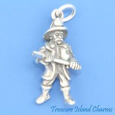FIRE FIGHTER FIREMAN with AXE AX 3D .925 Solid Sterling Silver Charm FIREFIGHTER