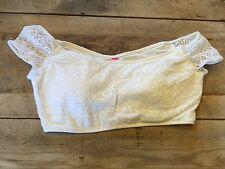 White Lace X-SMALL Victoria's Secret CROP TANK Bikini Swimsuit Top VS NEW!