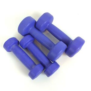 Hand Weights Barbells Lot 2 lb Pair & 1 lb Pair Purple Plastic Unbranded