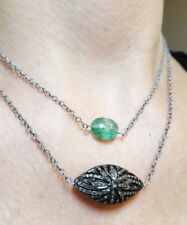 Two Zambian Emerald pave diamond flower 925 silver double necklace