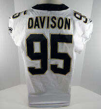 2018 New Orleans Saints Tyeler Davison #95 Game Used White Jersey Benson Patch