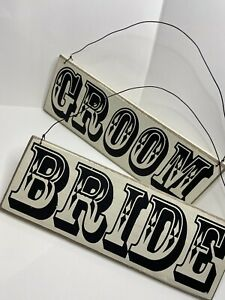 Groom & Bride Wooden Frame Chair Sign Farmhouse Vintage Style Wedding Photo Prop