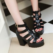 Gothic Women Block High Heel Peep Toe Punk Strap Shoes Platform Chunk Shoes Size