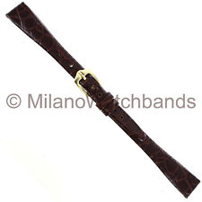 13mm Hirsch Crocograin Brown Genuine Leather Semi-Gloss Ladies Watch Band