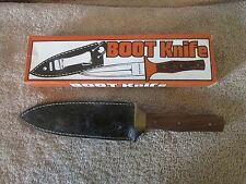 "9"" Wood Handle Fixed Blade Boot Knife with Leather Sheath- Stainless  (14 T)"