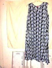 "Woman Within""Crinkle A-line Dress 2X Blue&White Print V-Neck Sleve-l Flared Hem"