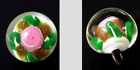 Glass Paperweight Button Pink Rose  Green Leaves  Goldstone Loads of Depth 9 16
