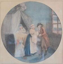 lithographie ancienne couleur naissance bébé