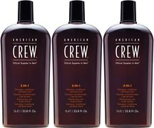 American Crew 3-in-1 Shampoo, Conditioner and Body Wash 33.8oz (Pack of 3) NEW!