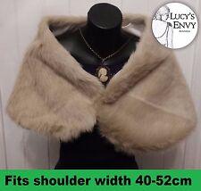 Australian Made Ivory Beige Faux Fur Wrap Shrug Shawl by Lucy's Envy W109-15