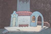 Vintage gouache painting theatre scene design signed