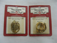 FIBRE CRAFT GOLD KEY CHAINS, 2 PKGS(2 IN A PACKAGE), BRAND NEW IN SEALED PACKAGE