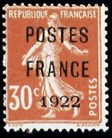 "FRANCE PREOBLITERE TIMBRE STAMP 38 "" SEMEUSE 30c POSTE FRANCE 1922 "" NEUF (x) TB"