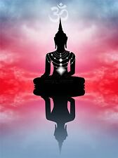ART PRINT POSTER PHOTO MOCK UP SILHOUETTE SUNSET BUDDHA LOTUS LFMP0733