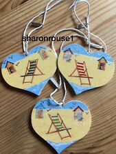 3 Nautical Seaside Beach Hut Deck Chair Decorations Wood Heart Hand Painted