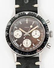 Vintage 1970's Le Phare Turtle Chronograph w/ Tropical Dial! Serviced!