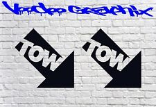 TOW & ARROW (PAIR) Rally Motorsport JDM Racing Bumper Car Stickers Decals