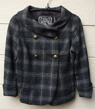 Women's Guess Stretch Black Plaid Double Breasted Lined Jacket Peacoat / Size: S