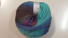 Superwool #40 Aqua Blue Brown & Magenta Mix 50g Pure Wool