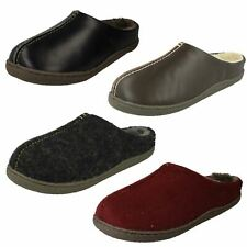 Mens Clarks Rounded Toe Warm Lined Slip On Leather Mule Slippers Relaxed Style