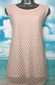 ANN TAYLOR L Vgc Blush Pink Nude Lace Longline Sleeveless Tunic Vest Blouse Top