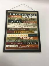Lake Rules wood sign log home cabin decor relax go fishing play games laugh