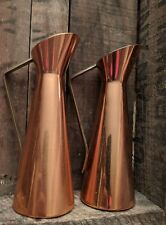 "Pair Vintage King Copper Craft USA Copper & Brass Creamer Pitcher 5-3/4""x2"" mcm"