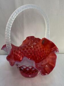"Fenton Cranberry & White Opalescent Hobnail Basket White Spiral Optic Handle 8"""