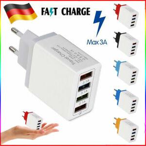 Schnell Ladegerät USB Mehrfachstecker 4 fach Mehrfach Netzteil Adapter Für Handy