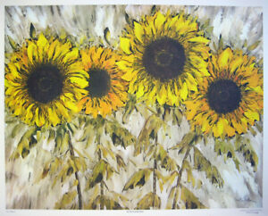 "Tilde Pedersen - Canadian ""Sunflowers"" Dramatic large image FLAWLESS CONDITION"