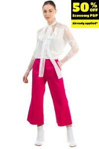 RRP €130 MIA SULIMAN Trousers Size IT 42 / S Stretch Cropped Made in Italy