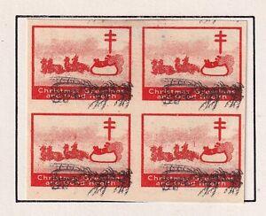 US STAMP CHRISTMAS SEAL 1927  MH/OG BLK OF 4  PROOF STAMPS ERROR #1