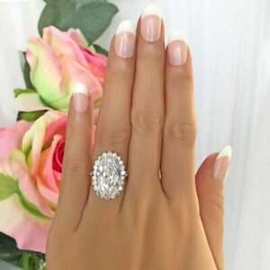 Gatsby Style Halo Engagement Ring 10 CT Oval Cut Diamond 14K White Gold Enhanced