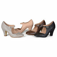 Brinley Co Womens Cutout Round Toe Mary Jane Pumps New