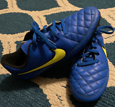 Youth 5.5 Nike Tiempo Blue Soccer Cleats Blue With Yellow Guc Boys Or Girls