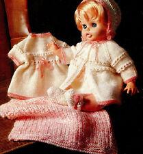 KNITTING  PATTERN for 18/20   doll / reborn dress bonnet shoes   and blanket dk