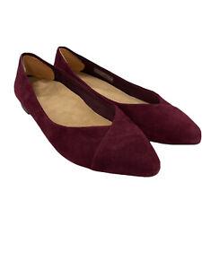 Vionic Women's 9.5 Caballo Burgundy Point Toe Ballet Flat Casual Comfort Shoe