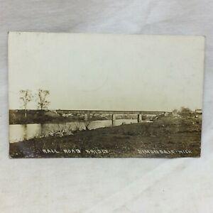 Vintage Postcard Railroad Bridge Dimondale Michigan Scene 1912