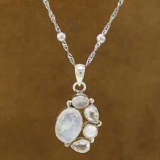 Chaine en argent pur 925 pendentif pierre de lune femmes er de mode bijoux