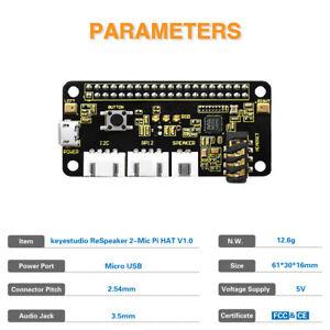 ReSpeaker 2-Mics HAT Audio decode Expansion Board for Raspberry Pi Zero W 3 4 B+