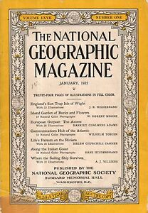 1935 National Geographic January - Isle of Wight; Azores; Italian Riviera; Ships