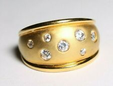 Sterling Silver 925 Ring Size 8 Goldtone Clear CZ Gems