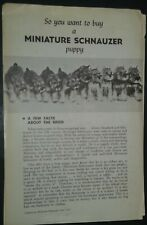 Vintage So You Want to Buy a Miniature Schnauzer Puppy Booklet