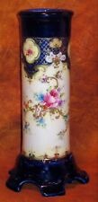 ANTIQUE HP FLORAL PORCELAIN COBALT BLUE CYLINDER VASE w/FLARED SCALLOPED BASE
