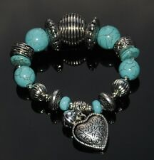 Chunky Faux Turquoise & Tibetan Silver Bracelet with Bell & Heart Charms
