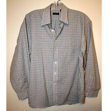 Men's Plaid Long Sleeve Cotton Bld Dress Shirt by Van Heusen Size large 16 -16.5