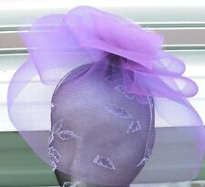 purple feather fascinator millinery burlesque headband wedding hat race ascot