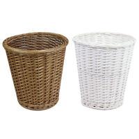 JVL Round Split Willow Waste Paper Basket Bin, Matte White or Natural Buff